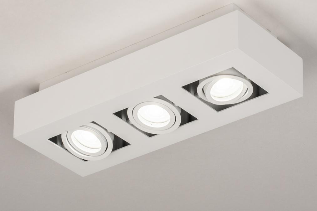 Plafondlamp 74137: design, modern, metaal, wit #0