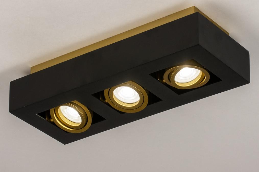 Plafondlamp 74138: design, modern, metaal, zwart #0