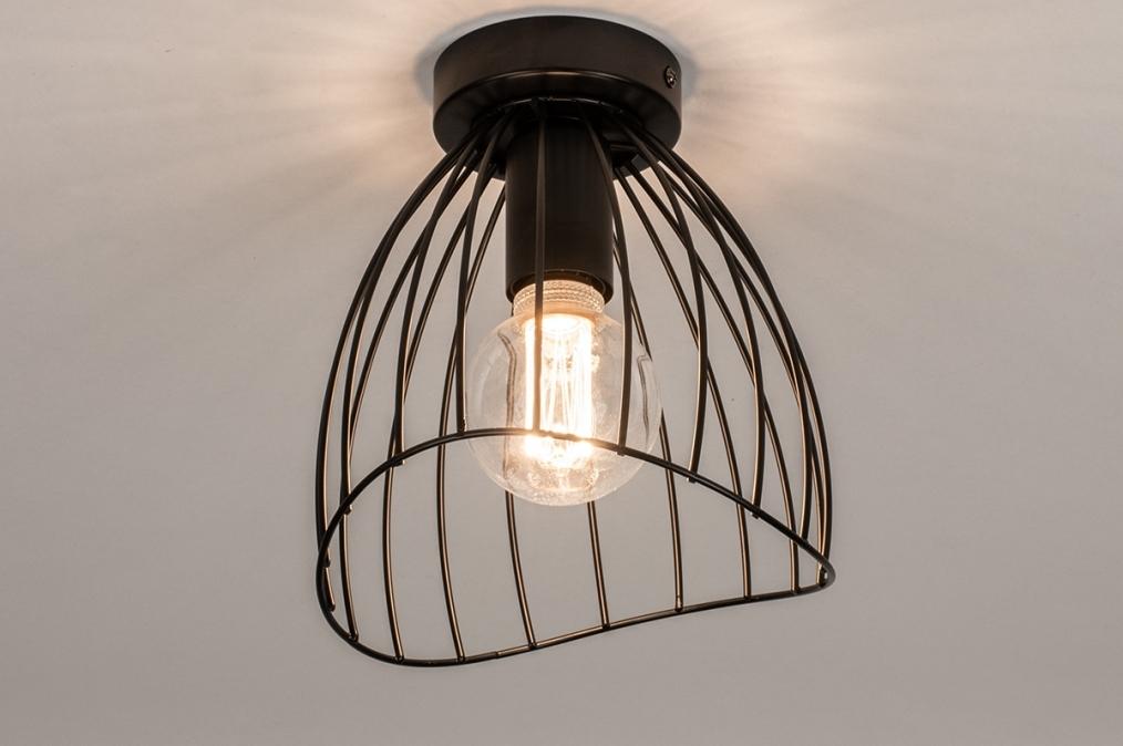 Plafondlamp 74166: modern, retro, metaal, zwart #0