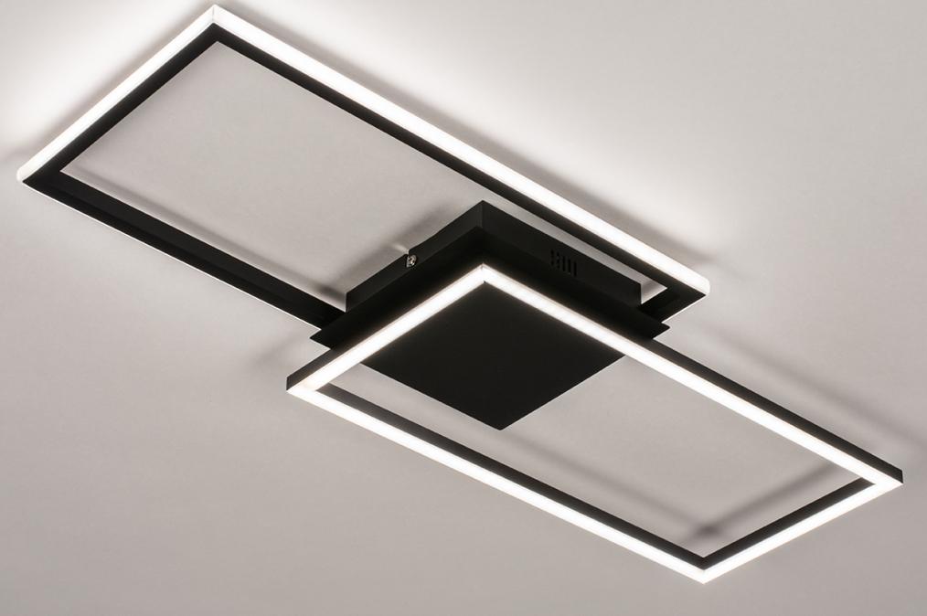 Plafondlamp 74229: design, modern, metaal, zwart #0