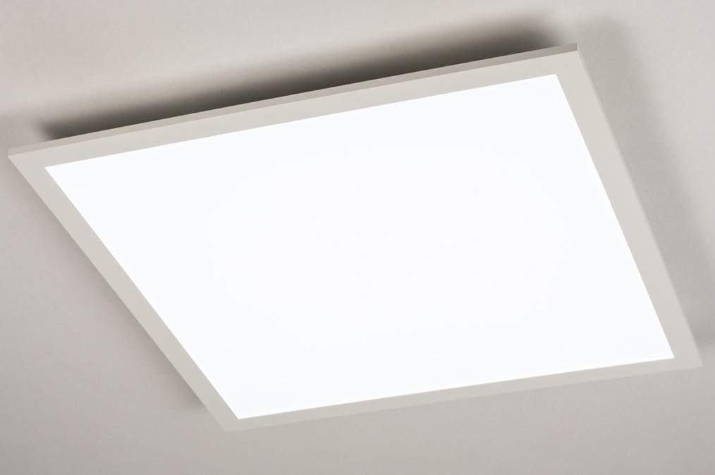 Plafondlamp 74234: modern, kunststof, metaal, wit #0