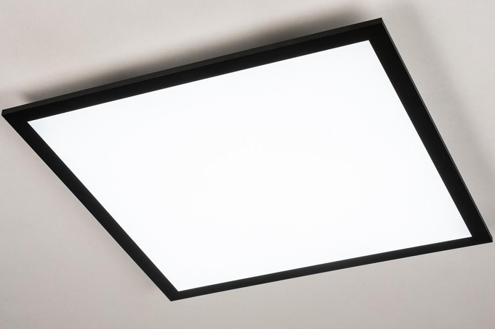 Plafondlamp 74237: modern, kunststof, metaal, zwart #0