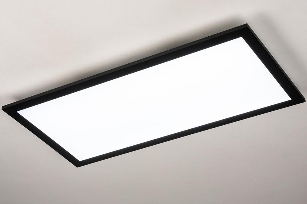 Plafondlamp 74238: modern, kunststof, metaal, zwart #0