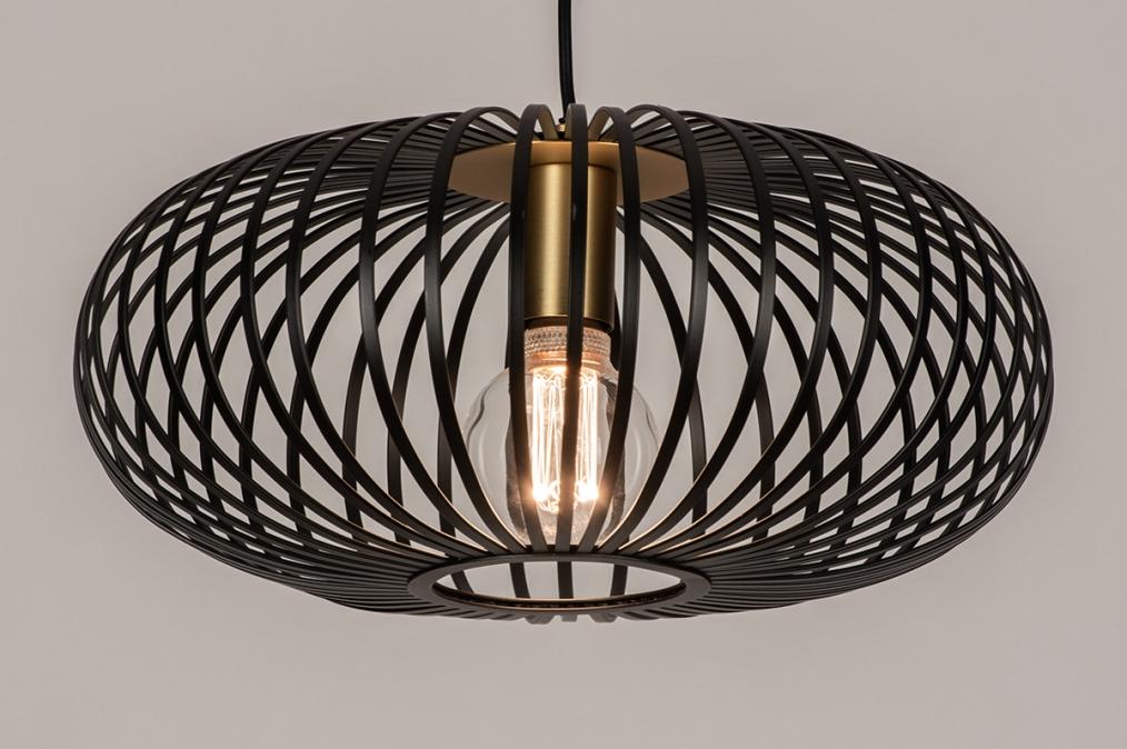 Hanglamp 74244: modern, retro, metaal, zwart #0