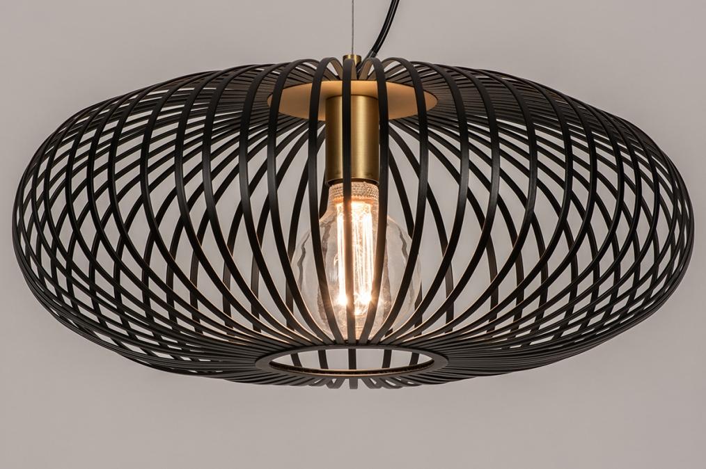 Hanglamp 74245: modern, retro, metaal, zwart #0