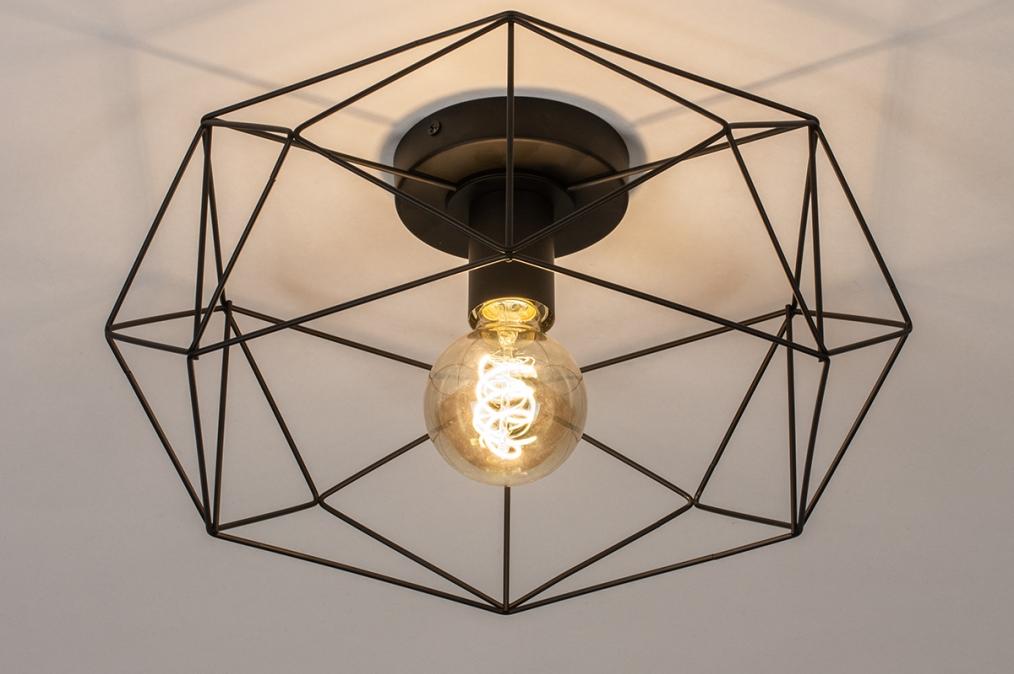 Plafondlamp 74271: modern, metaal, zwart, mat #0