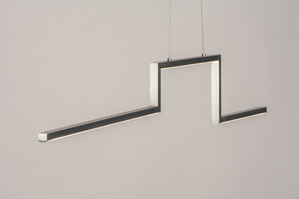 Hanglamp 74275: design, modern, geschuurd aluminium, aluminium #0