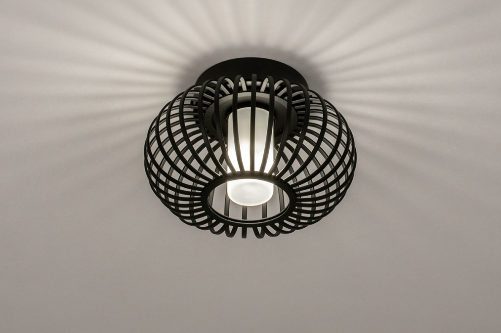 Plafondlamp 74283: modern, retro, glas, wit opaalglas #0
