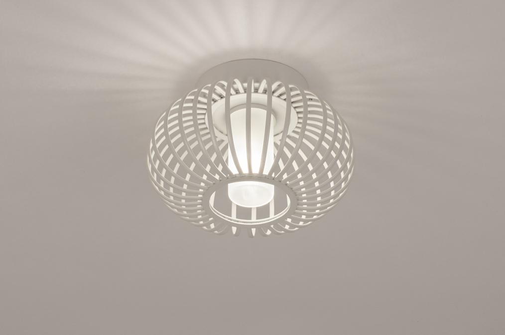 Plafondlamp 74286: modern, retro, glas, wit opaalglas #0