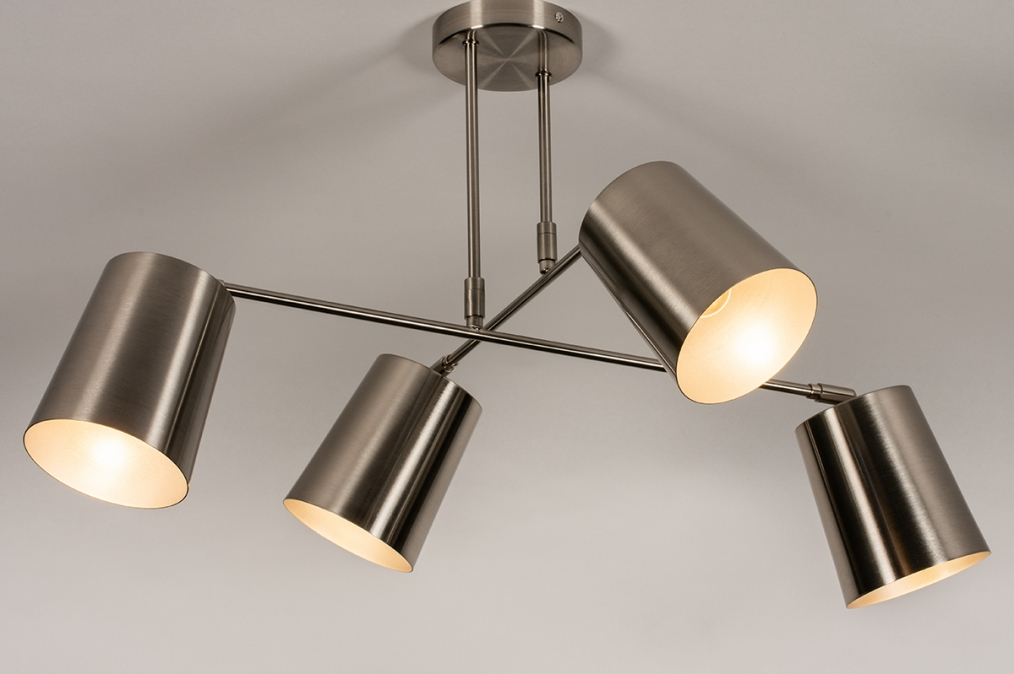 Plafondlamp 74302: modern, metaal, nikkel #0