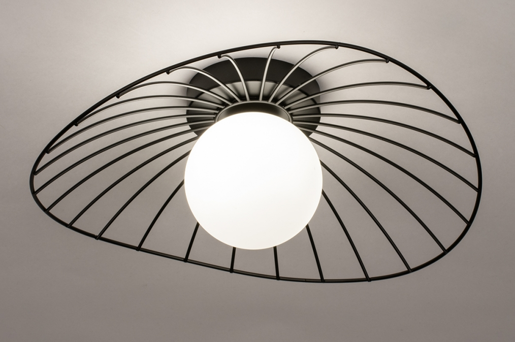 Plafondlamp 74332: modern, retro, glas, wit opaalglas #0