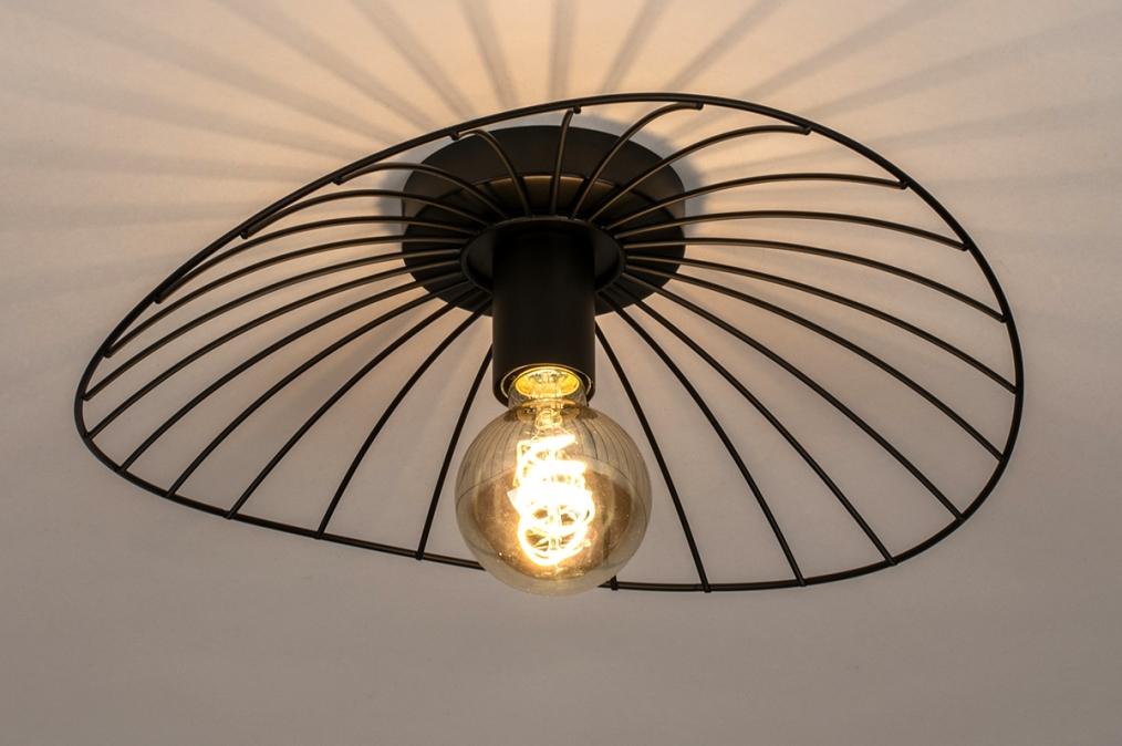 Plafondlamp 74333: modern, retro, metaal, zwart #0