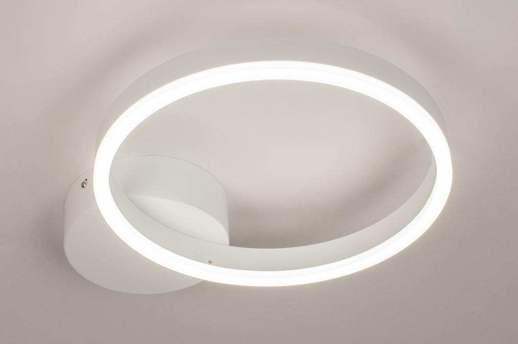 Plafondlamp 74337: design, modern, metaal, wit #0