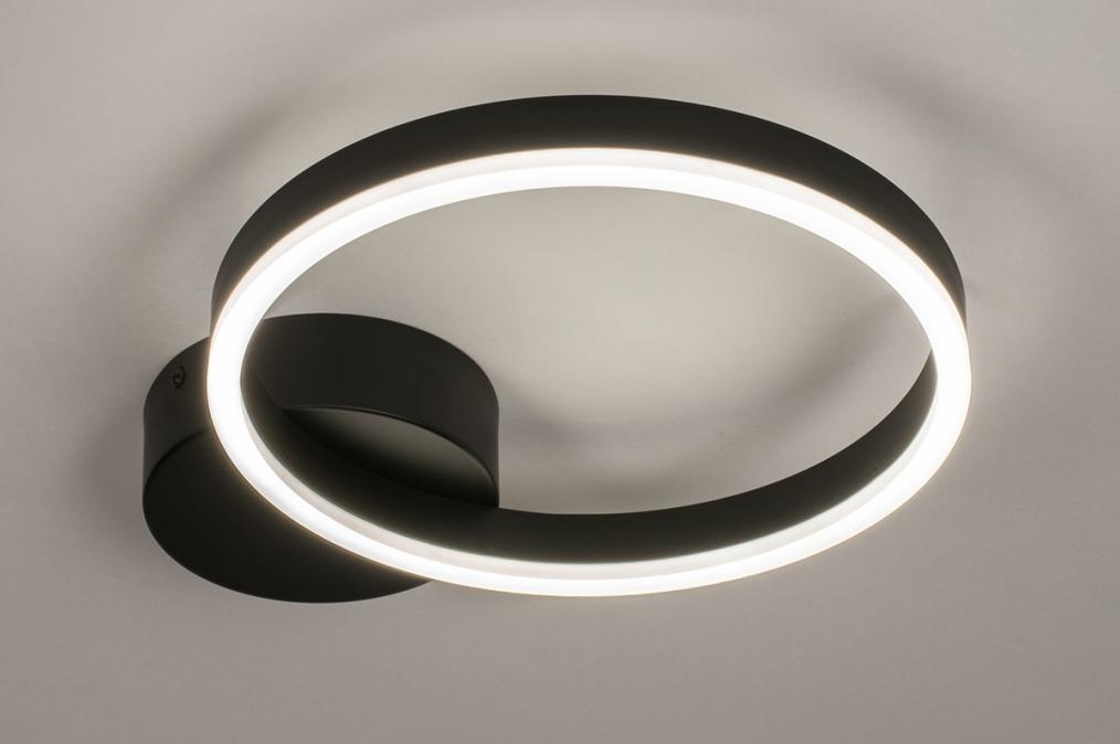 Plafondlamp 74338: design, modern, metaal, zwart #0
