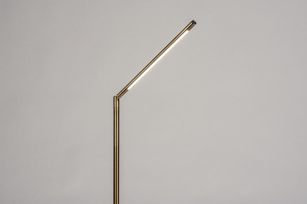 Vloerlamp 74362: modern, eigentijds klassiek, messing, geschuurd #0