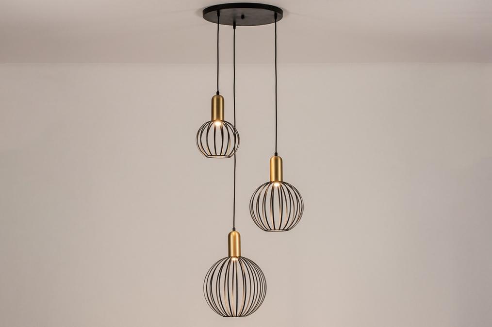 Hanglamp 74367: modern, eigentijds klassiek, art deco, messing #0