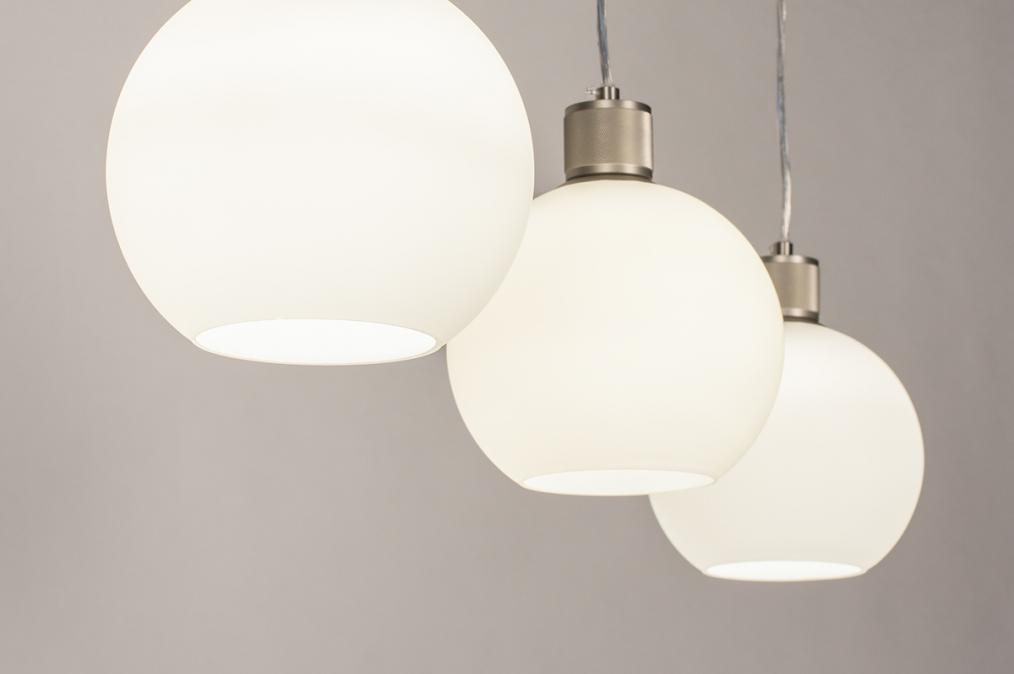Hanglamp 74393: modern, retro, glas, wit opaalglas #0