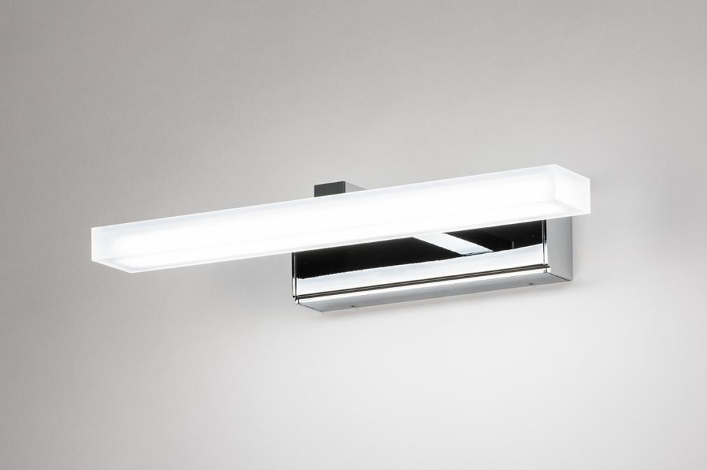 Wandlamp 74407: modern, metaal, chroom, rechthoekig #0