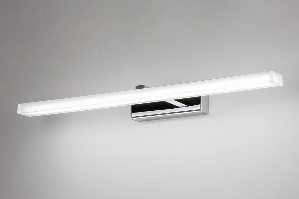 Wandlamp 74408: modern, metaal, chroom, rechthoekig #0