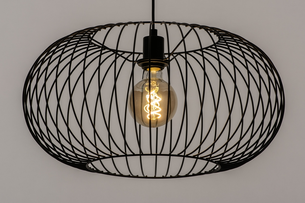 Hanglamp 74413: modern, retro, metaal, zwart #0