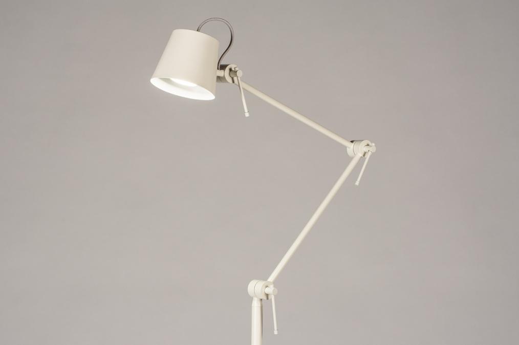 Vloerlamp 74428: modern, metaal, grijs, creme #0