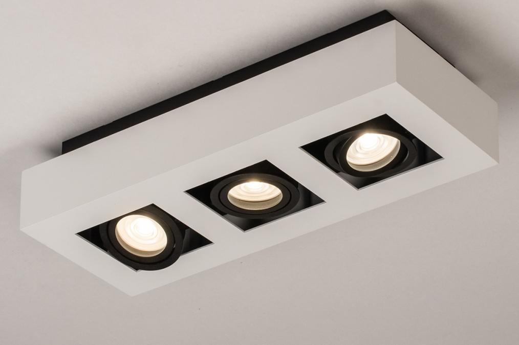 Plafondlamp 74485: design, modern, aluminium, zwart #0