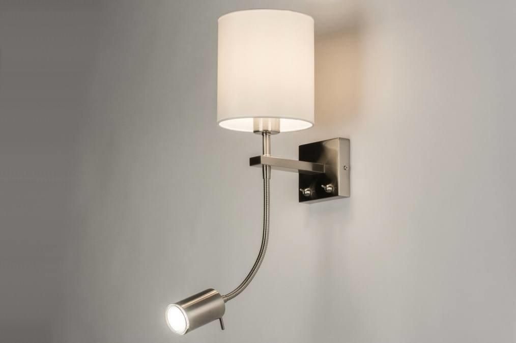 Wandlamp 84339: modern, eigentijds klassiek, stof, wit #0