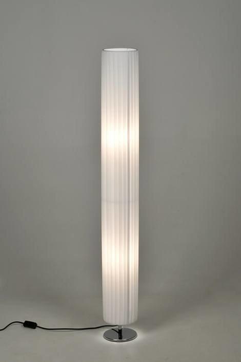 Vloerlamp 86237: modern, eigentijds klassiek, wit, stof #0