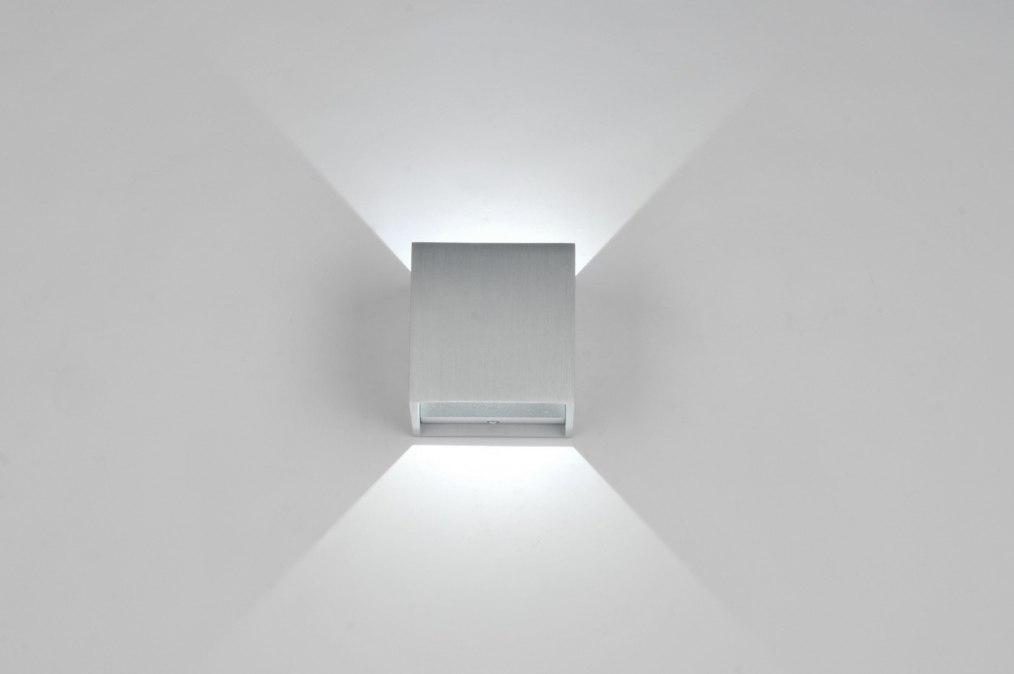Wandlamp 86453: Modern, Design, Geschuurd Aluminium, Metaal