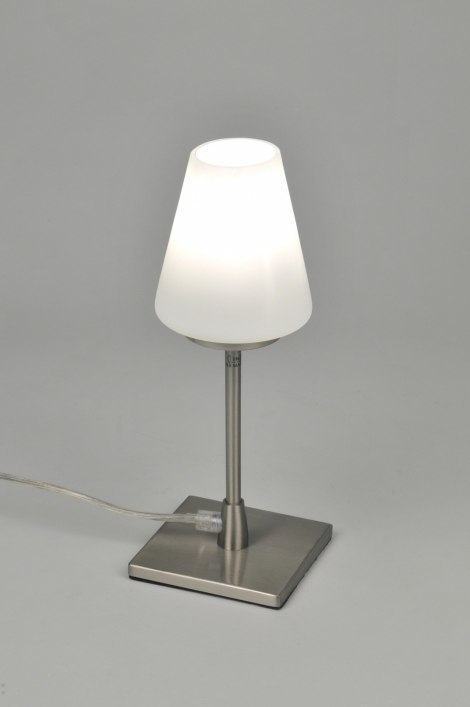 Tafellamp 86842: modern, eigentijds klassiek, glas, wit opaalglas #0