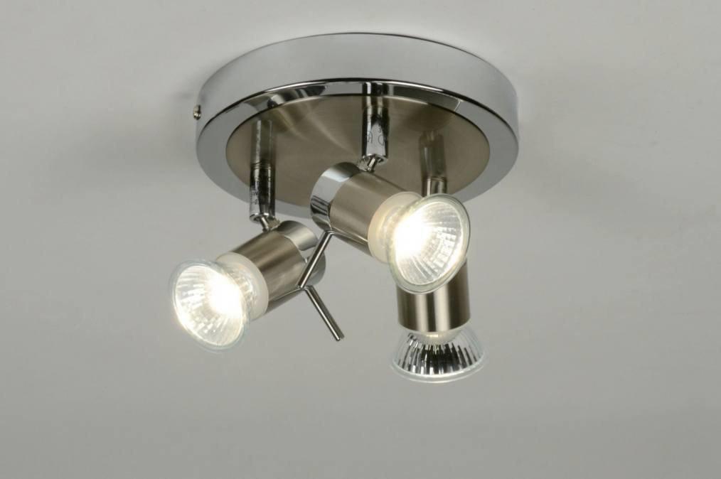 Plafondlamp 88473: modern, eigentijds klassiek, chroom, staalgrijs #0