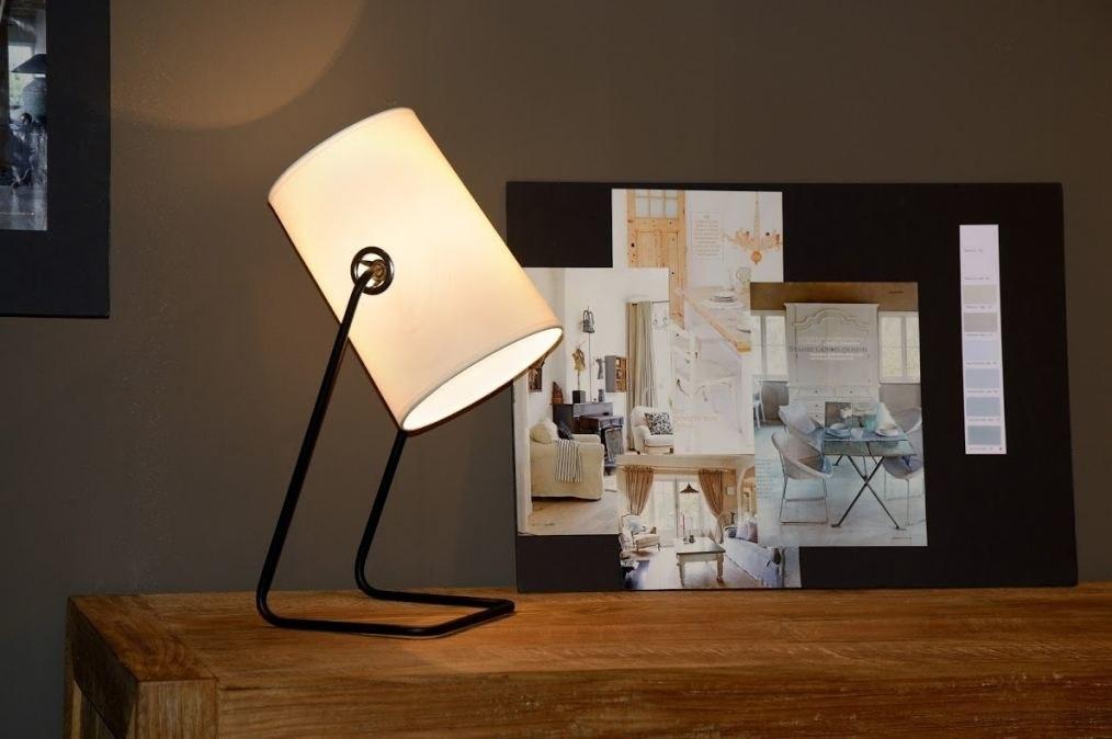 tischleuchte 88902 modern design weiss stoff. Black Bedroom Furniture Sets. Home Design Ideas