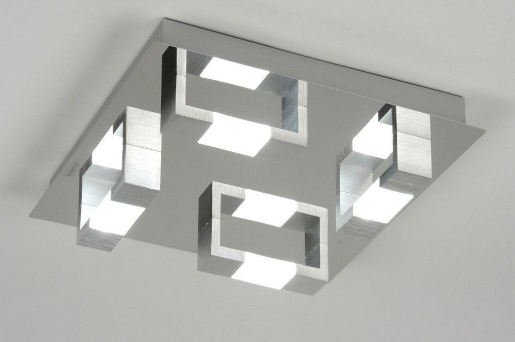 Plafondlamp 89145: modern, chroom, aluminium, geschuurd aluminium #0