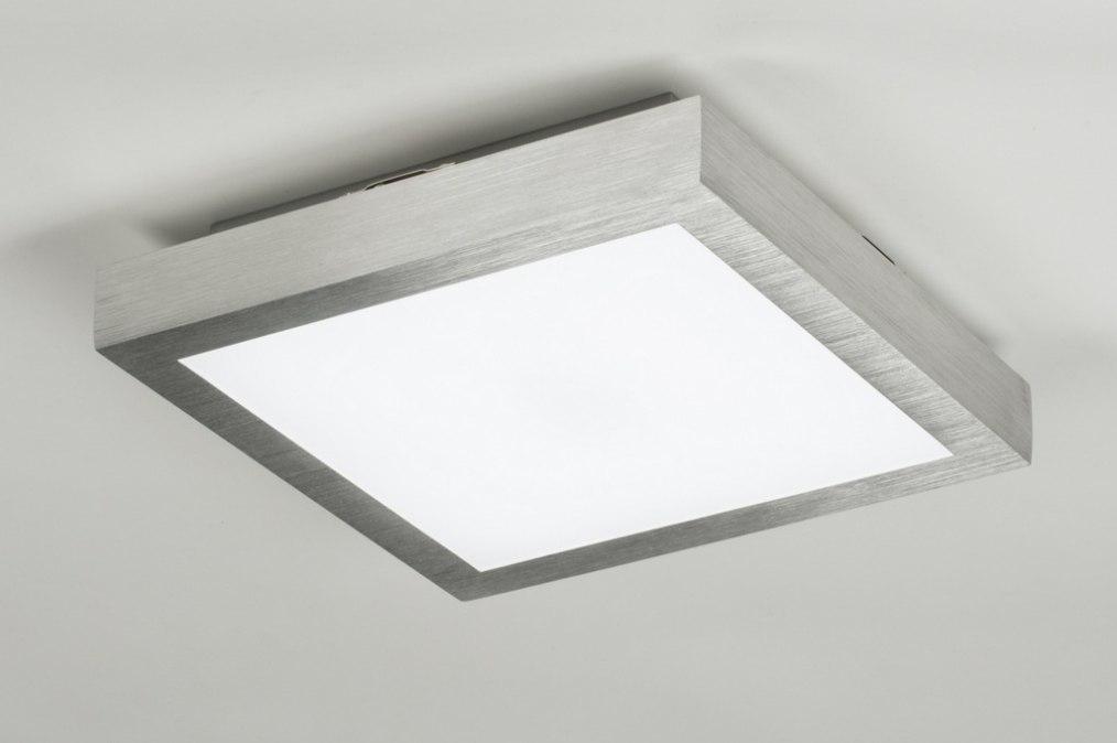 Plafondlamp 89401: modern, geschuurd aluminium, kunststof, vierkant #0