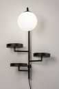 Wandlamp 14008: modern, glas, wit opaalglas, metaal #2