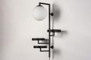 Wandlamp 14008: modern, glas, wit opaalglas, metaal #4