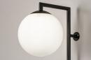 Wandlamp 14008: modern, glas, wit opaalglas, metaal #6