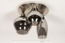 Plafondlamp 14153: modern, eigentijds klassiek, glas, staal rvs #1
