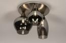 Plafondlamp 14153: modern, eigentijds klassiek, glas, staal rvs #2