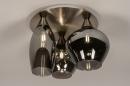 Plafondlamp 14153: modern, eigentijds klassiek, glas, staal rvs #4