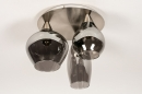 Plafondlamp 14153: modern, eigentijds klassiek, glas, staal rvs #5