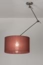 pendant_lamp-30646-modern-contemporary_classical-rustic-brown-Marsala-red-fabric-round