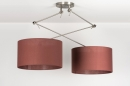 pendant_lamp-30647-modern-contemporary_classical-rustic-brown-Marsala-red-fabric-round-oblong