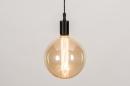 Hanglamp 30976: glas, zacht geel, metaal, zwart #2
