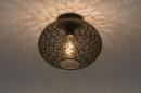 Plafondlamp 73942: modern, eigentijds klassiek, metaal, zwart #1