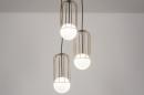 Hanglamp 74046: modern, glas, wit opaalglas, messing #1