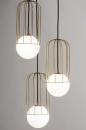 Hanglamp 74046: modern, glas, wit opaalglas, messing #3