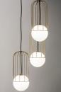 Hanglamp 74046: modern, glas, wit opaalglas, messing #4