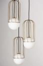 Hanglamp 74046: modern, glas, wit opaalglas, messing #7