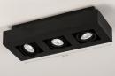 Plafondlamp 74136: design, modern, metaal, zwart #1